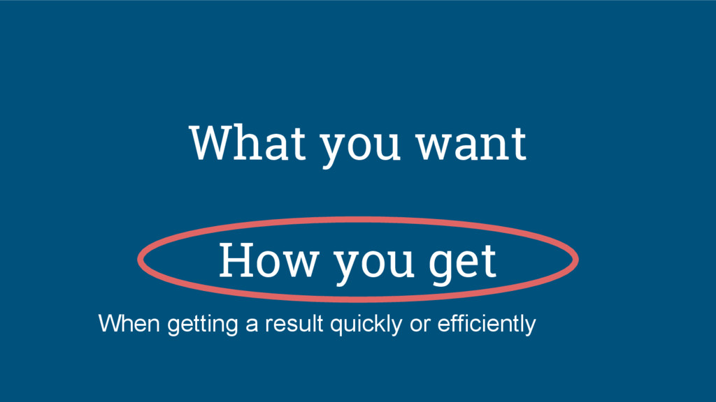 What you want How you get When getting a result...