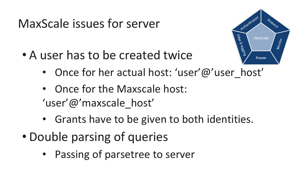 MaxScale issues for server • A user has to be c...