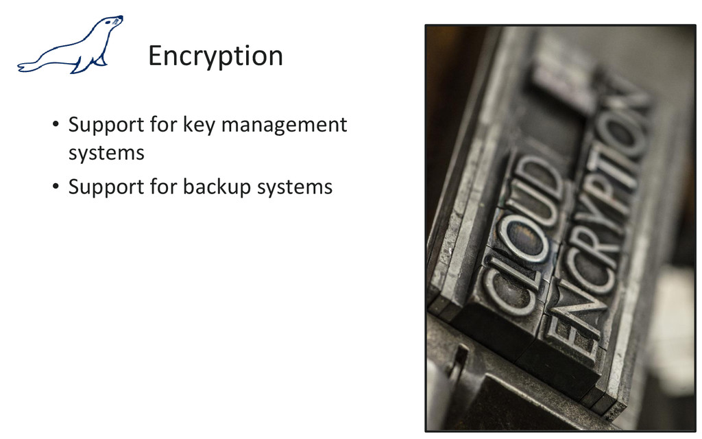 Encryption • Support for key management systems...