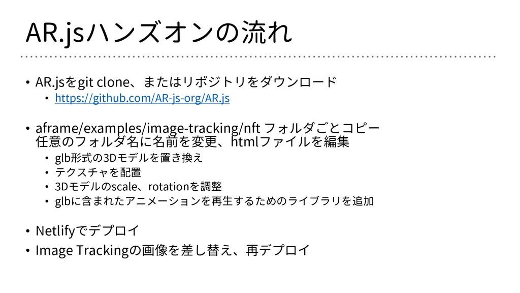 AR.jsハンズオンの流れ • AR.jsをgit clone、またはリポジトリをダウンロード...