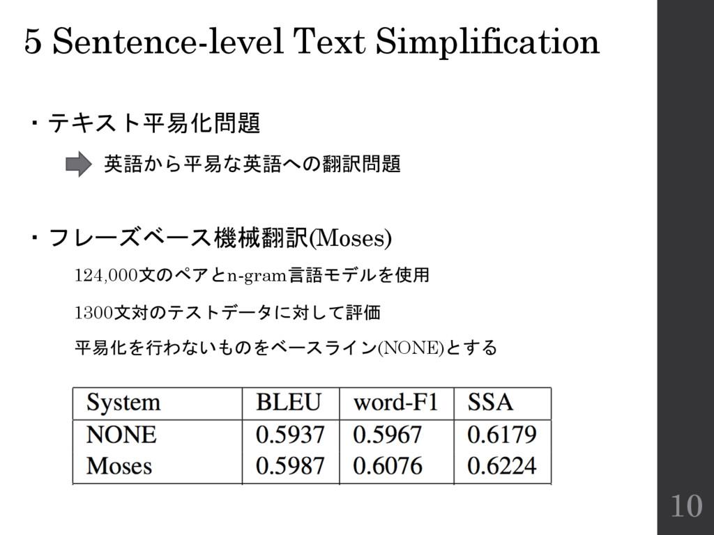 5 Sentence-level Text Simplification ・テキスト平易化問題...