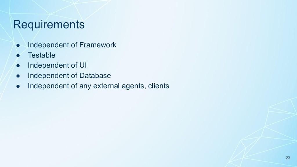 Requirements ● Independent of Framework ● Testa...