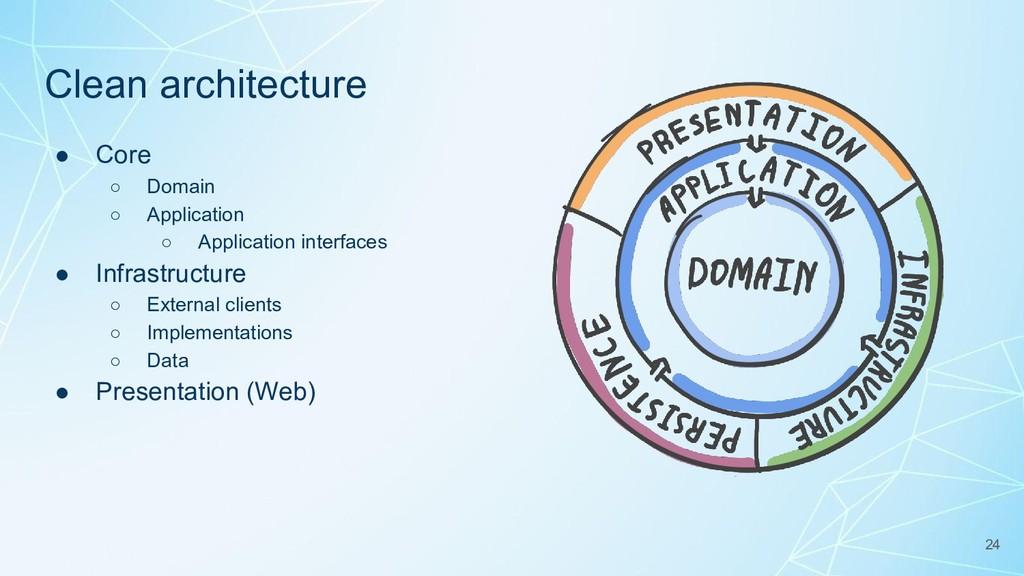 Clean architecture ● Core ○ Domain ○ Applicatio...