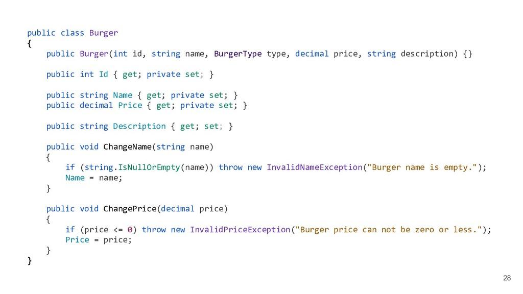 28 public class Burger { public Burger(int id, ...