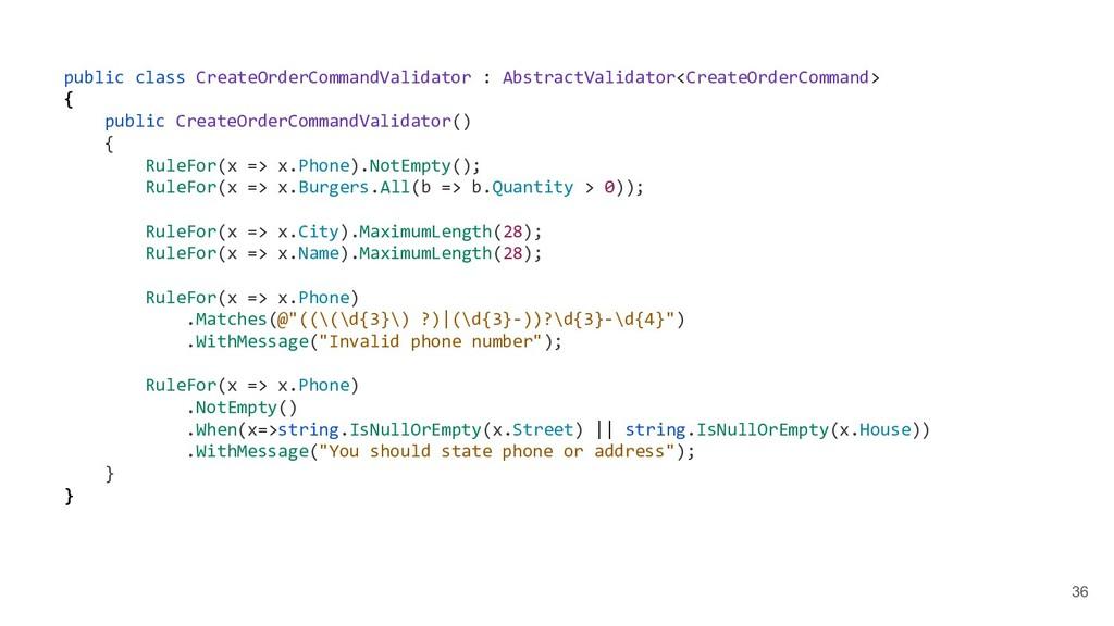 36 public class CreateOrderCommandValidator : A...