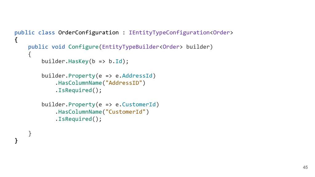 45 public class OrderConfiguration : IEntityTyp...