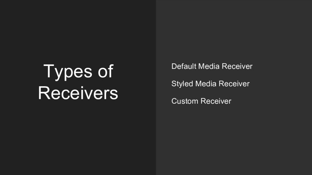 Types of Receivers Default Media Receiver Style...