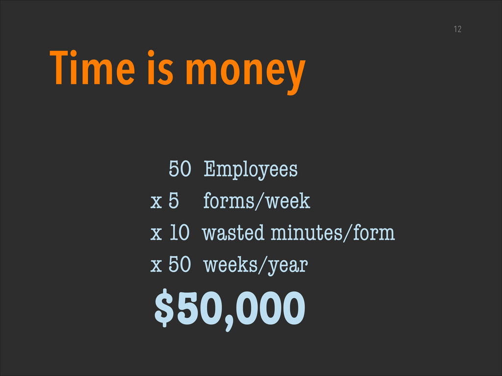 12 Time is money 50 Employees x 5 forms/week x ...