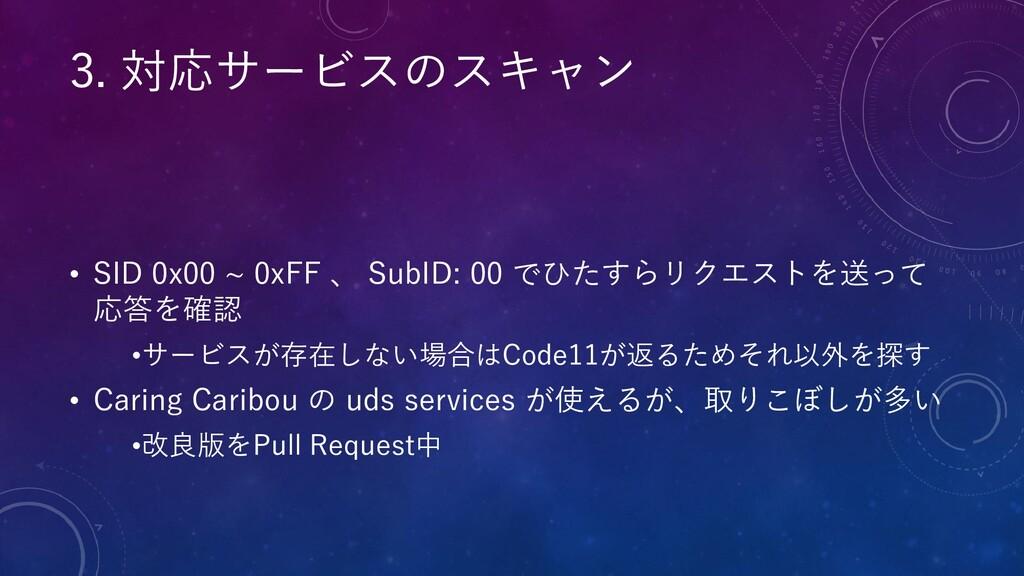 • SID 0x00 ~ 0xFF 、 SubID: 00 でひたすらリクエストを送って 応答...