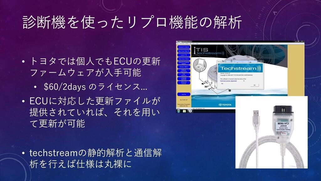 • トヨタでは個人でもECUの更新 ファームウェアが入手可能 • $60/2days のライセ...