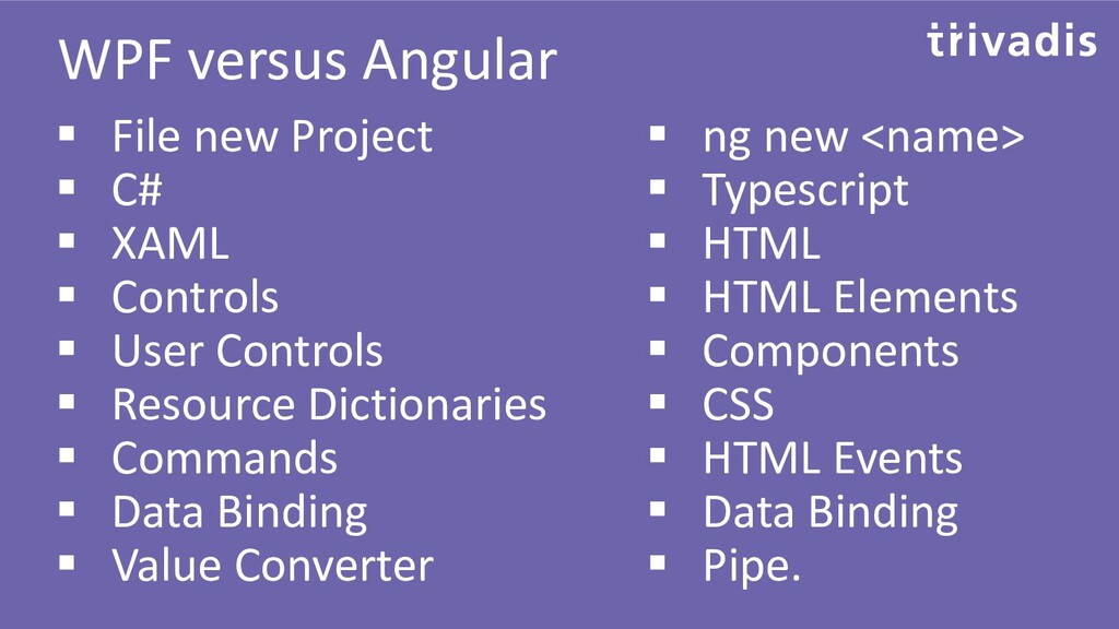 WPF versus Angular ▪ File new Project ▪ C# ▪ XA...