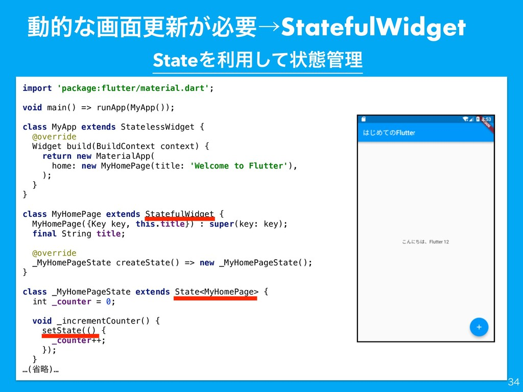 ಈతͳը໘ߋ৽͕ඞཁˠStatefulWidget import 'package:flutt...