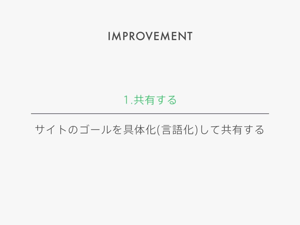 IMPROVEMENT ڞ༗͢Δ αΠτͷΰʔϧΛ۩ମԽ ݴޠԽ ͯ͠ڞ༗͢Δ