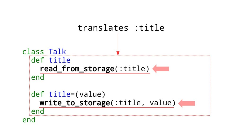 class Talk def title read_from_storage(:title) ...