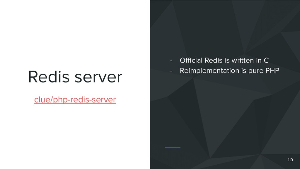 Redis server 119 clue/php-redis-server - Official...
