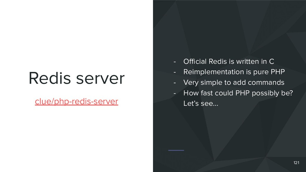 Redis server 121 clue/php-redis-server - Official...
