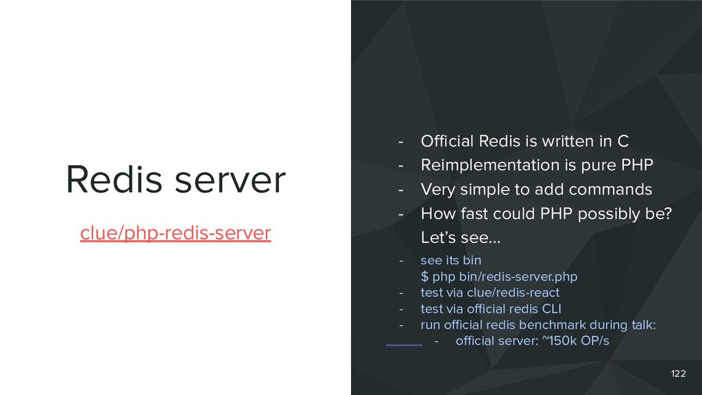 Redis server 122 clue/php-redis-server - Official...