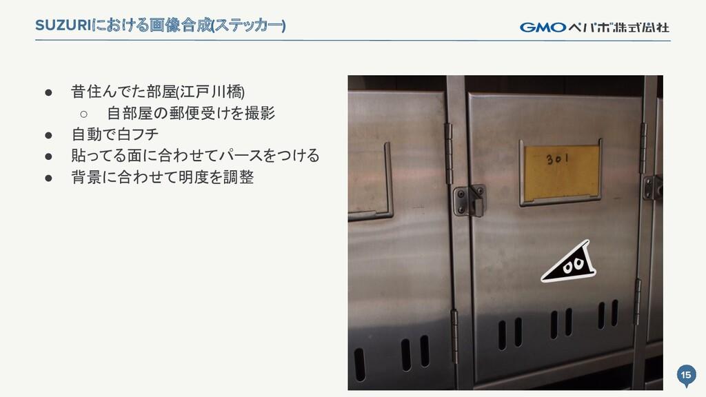 15 15 SUZURIにおける画像合成(ステッカー) ● 昔住んでた部屋(江戸川橋) ○ 自...