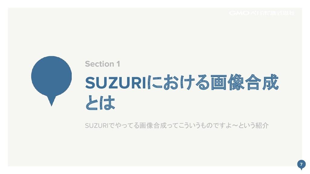 7 SUZURIにおける画像合成 とは Section 1 7 SUZURIでやってる画像合成...