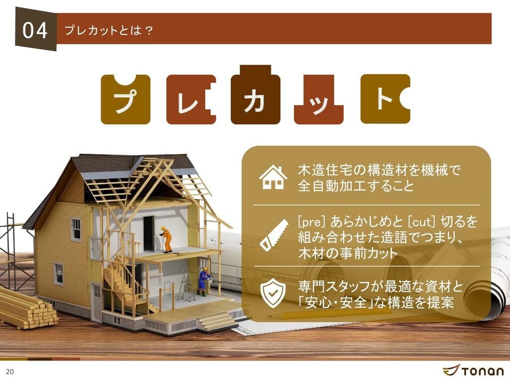 20 04 プレカットとは? プ レ ッ カ ト 木造住宅の構造材を機械で 全自動加工すること...