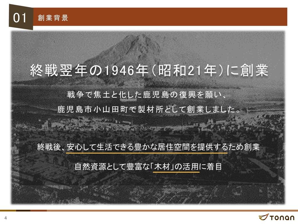 4 創業背景 終戦翌年の1946年(昭和21年)に創業 01 戦争で焦土と化した鹿児島の復興を...