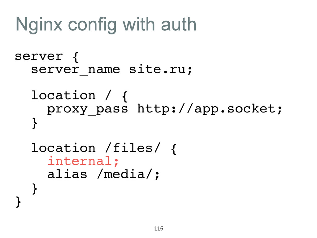 Nginx config with auth server {! server_name si...