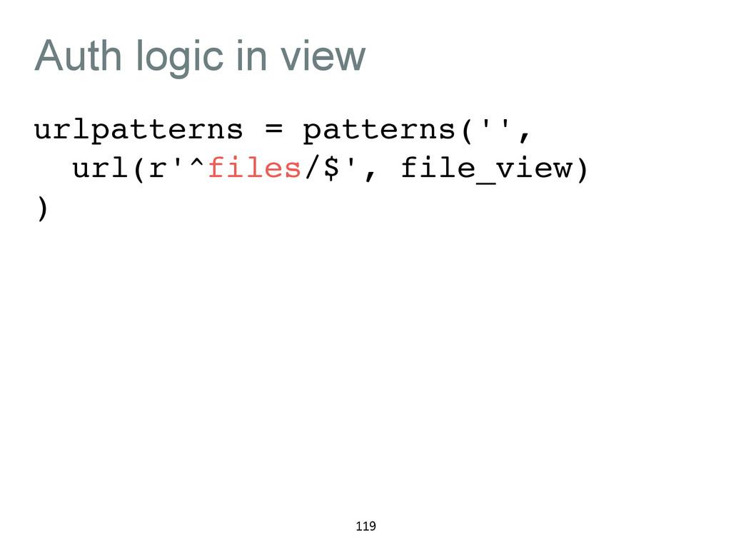 Auth logic in view urlpatterns = patterns('',! ...