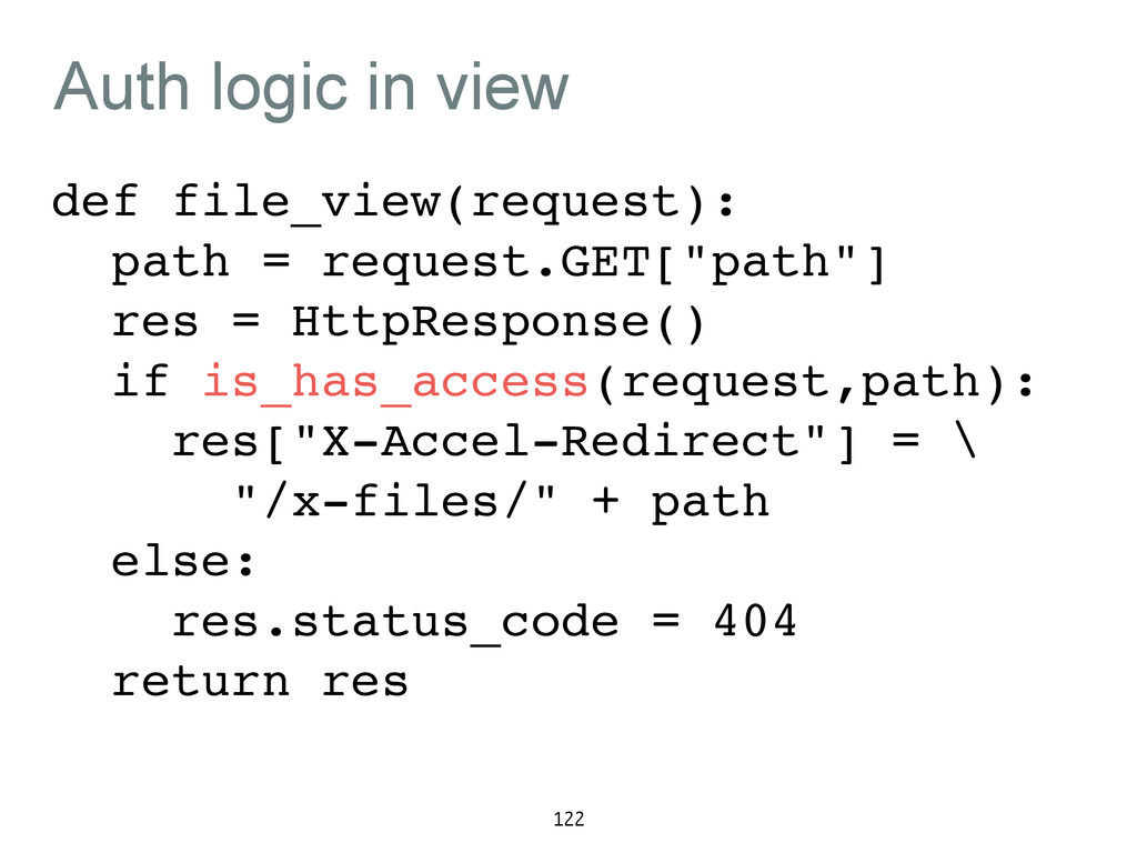 Auth logic in view def file_view(request):! pat...