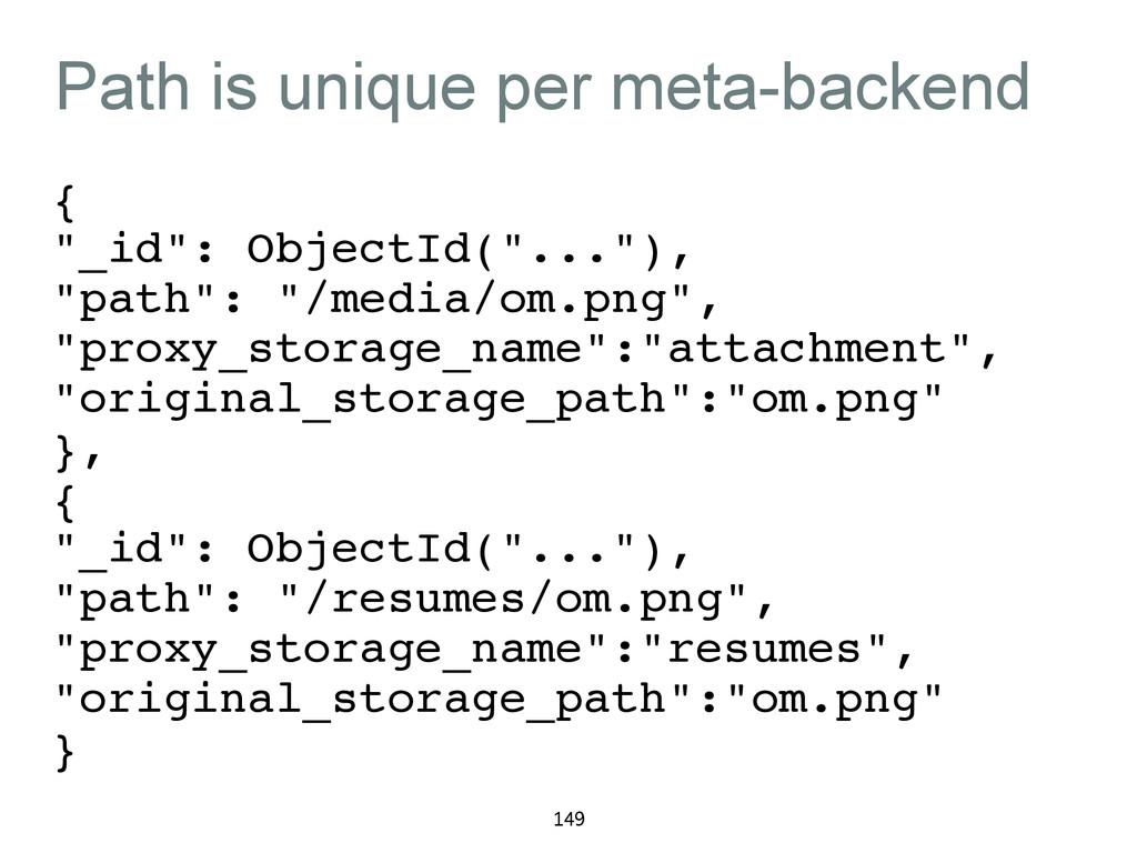 "Path is unique per meta-backend {! ""_id"": Objec..."