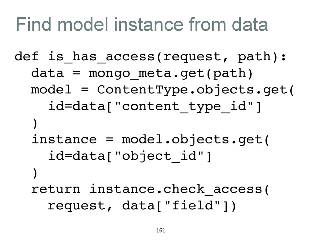Find model instance from data def is_has_access...