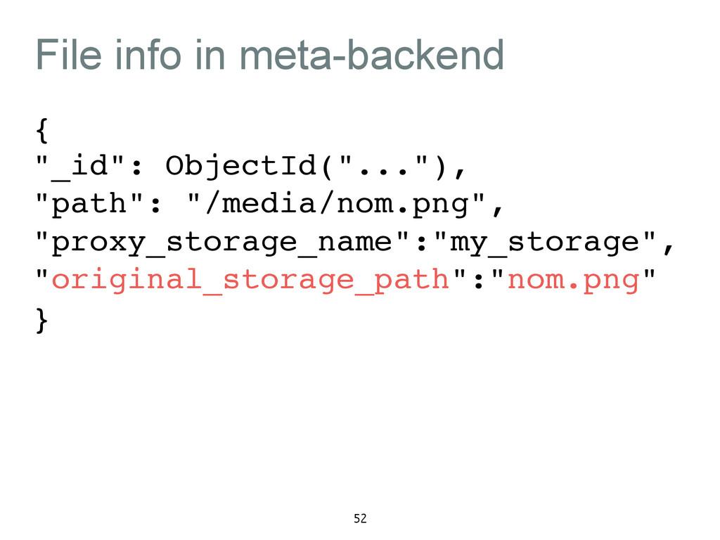 "File info in meta-backend {! ""_id"": ObjectId(""...."