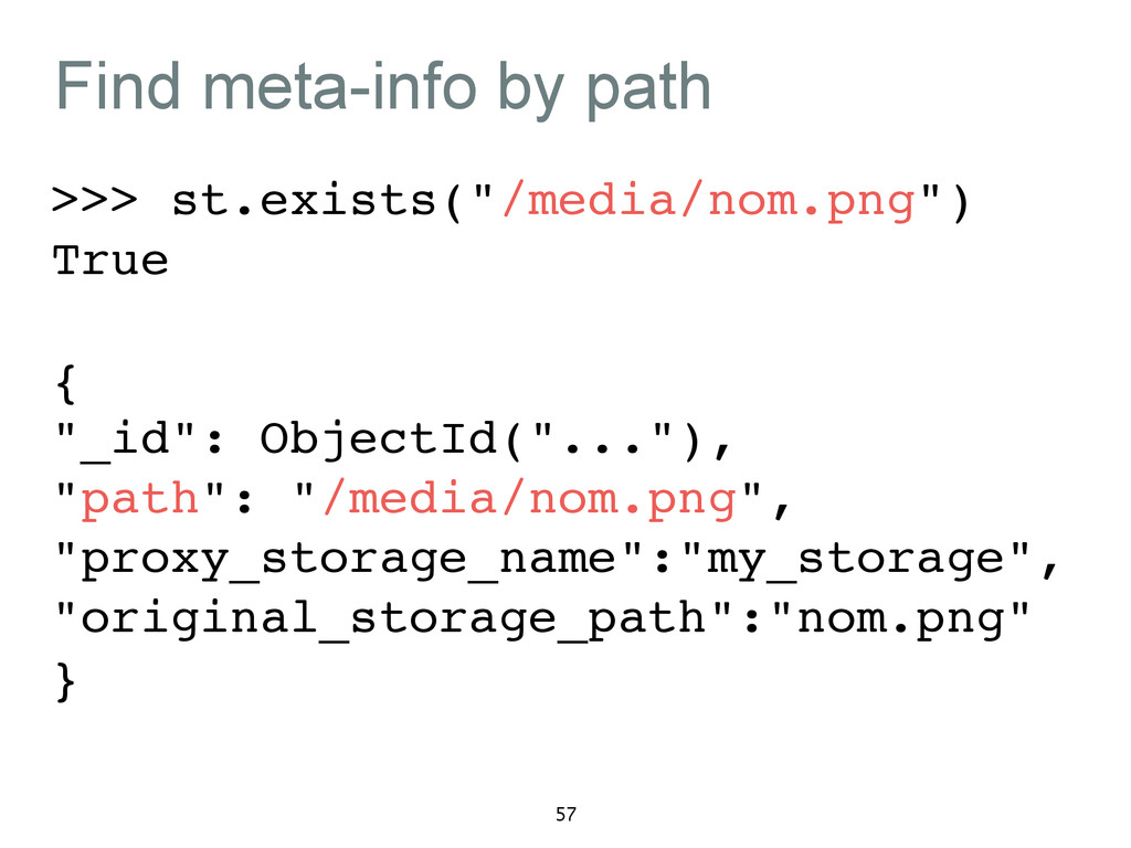 """Find meta-info by path >>> st.exists(""""/media/no..."""