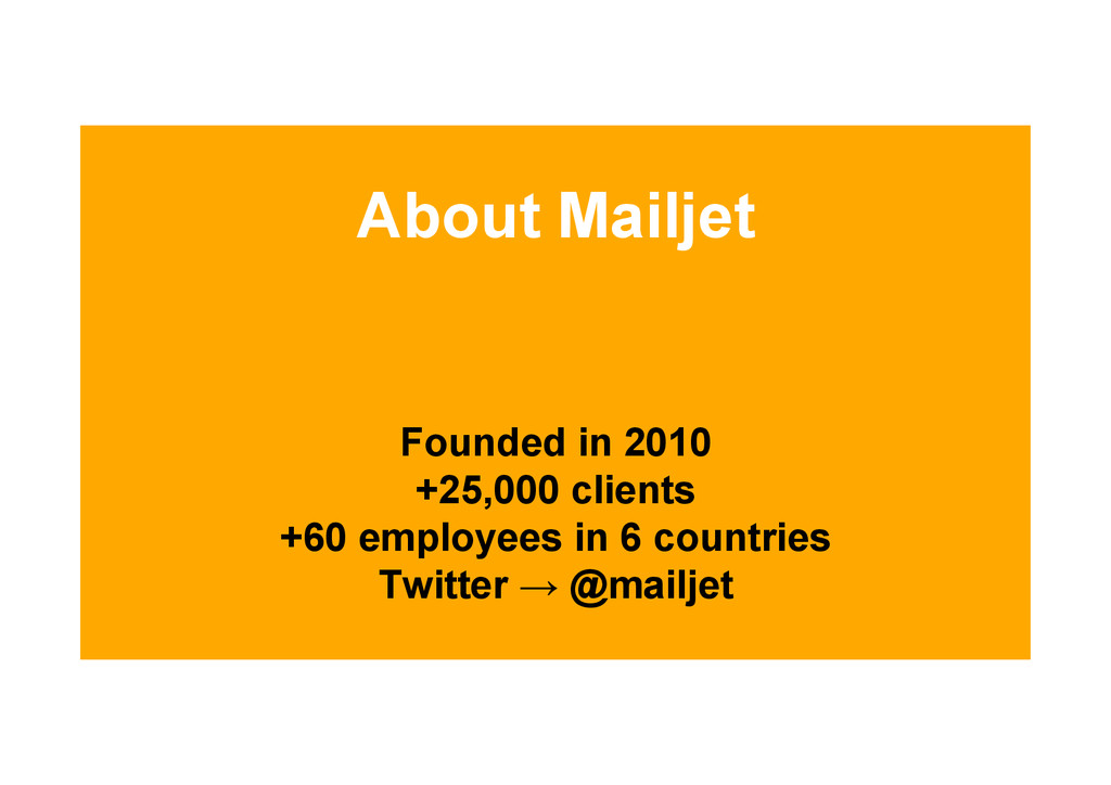 About Mailjet Founded in 2010 +25,000 clients +...