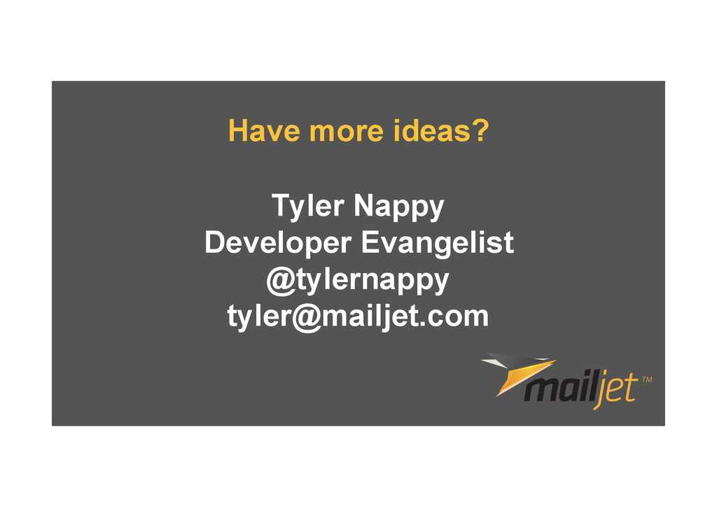 Tyler Nappy Developer Evangelist @tylernappy ty...
