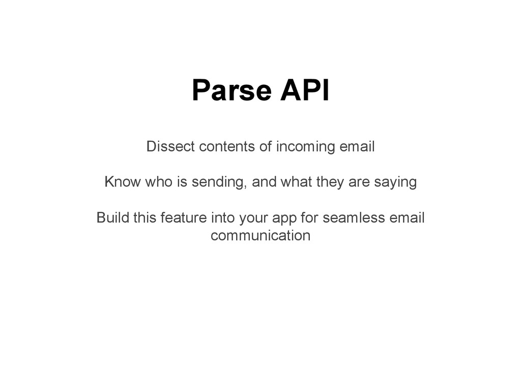 Parse API Dissect contents of incoming email Kn...