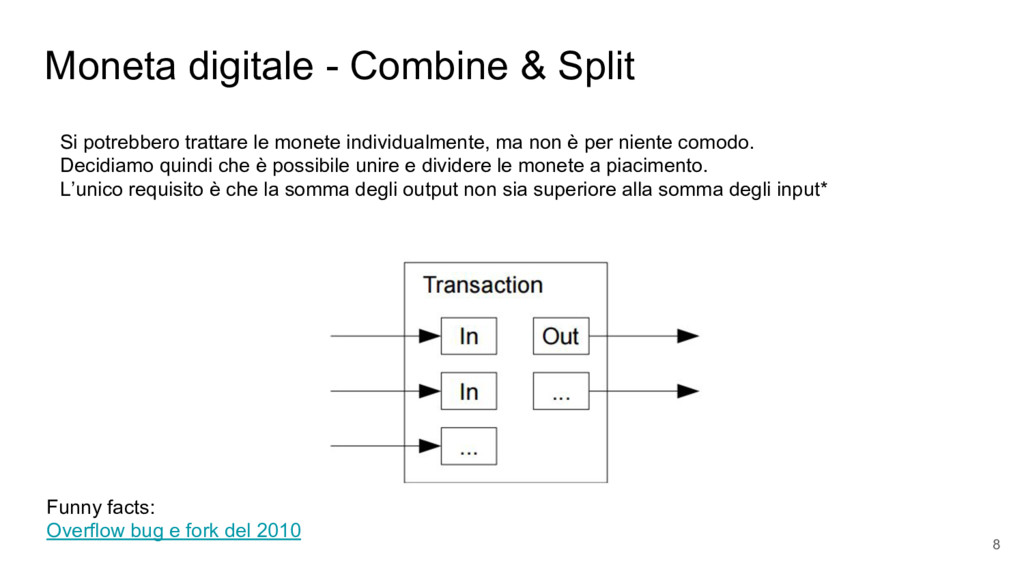 Moneta digitale - Combine & Split Si potrebbero...
