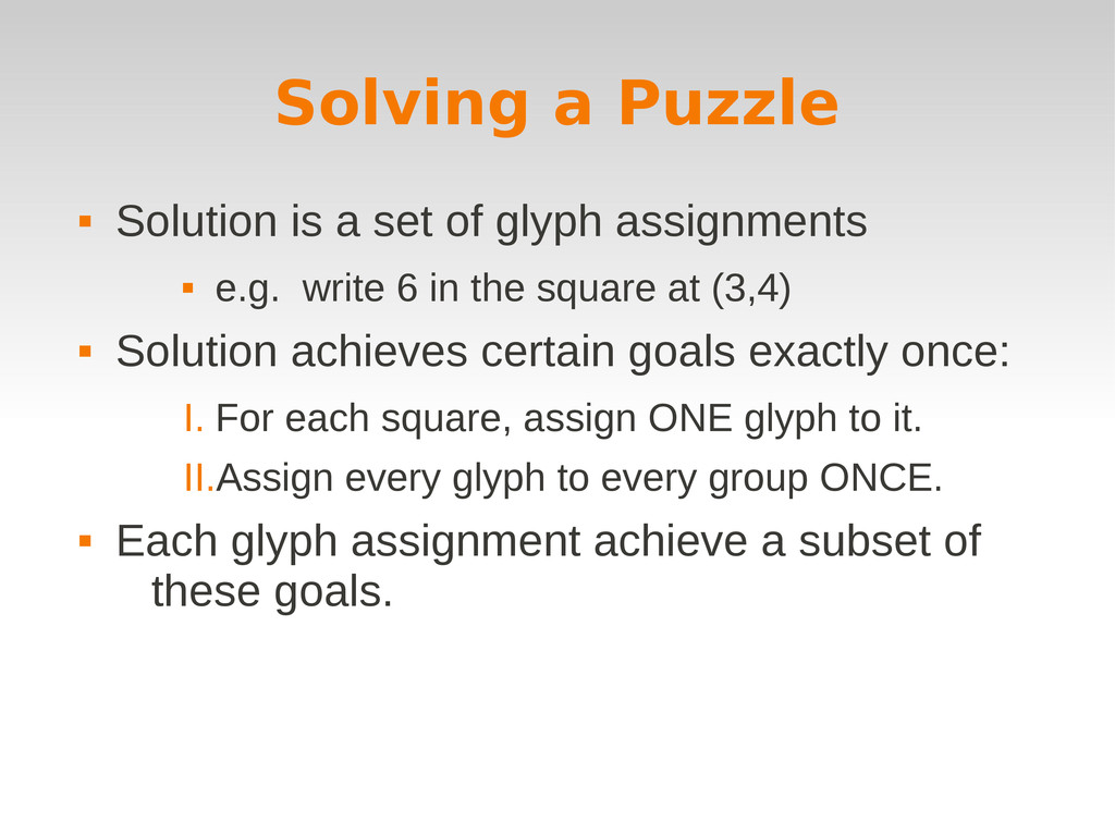 Solving a Puzzle  Solution is a set of glyph a...
