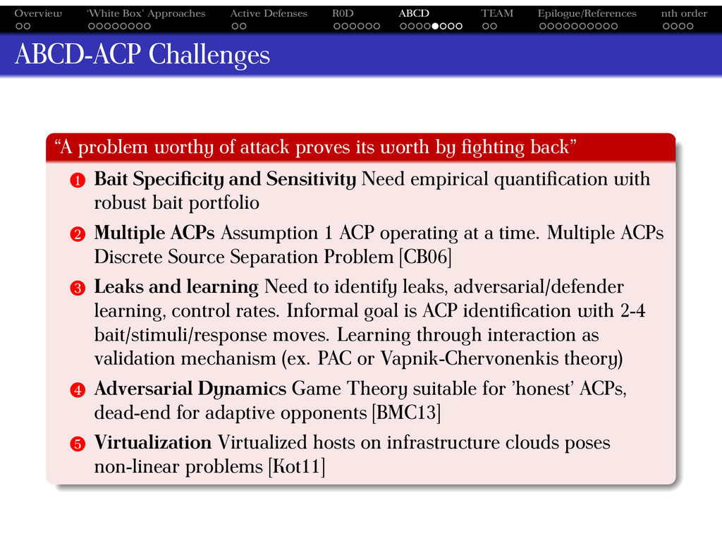 Overview 'White Box' Approaches Active Defenses...
