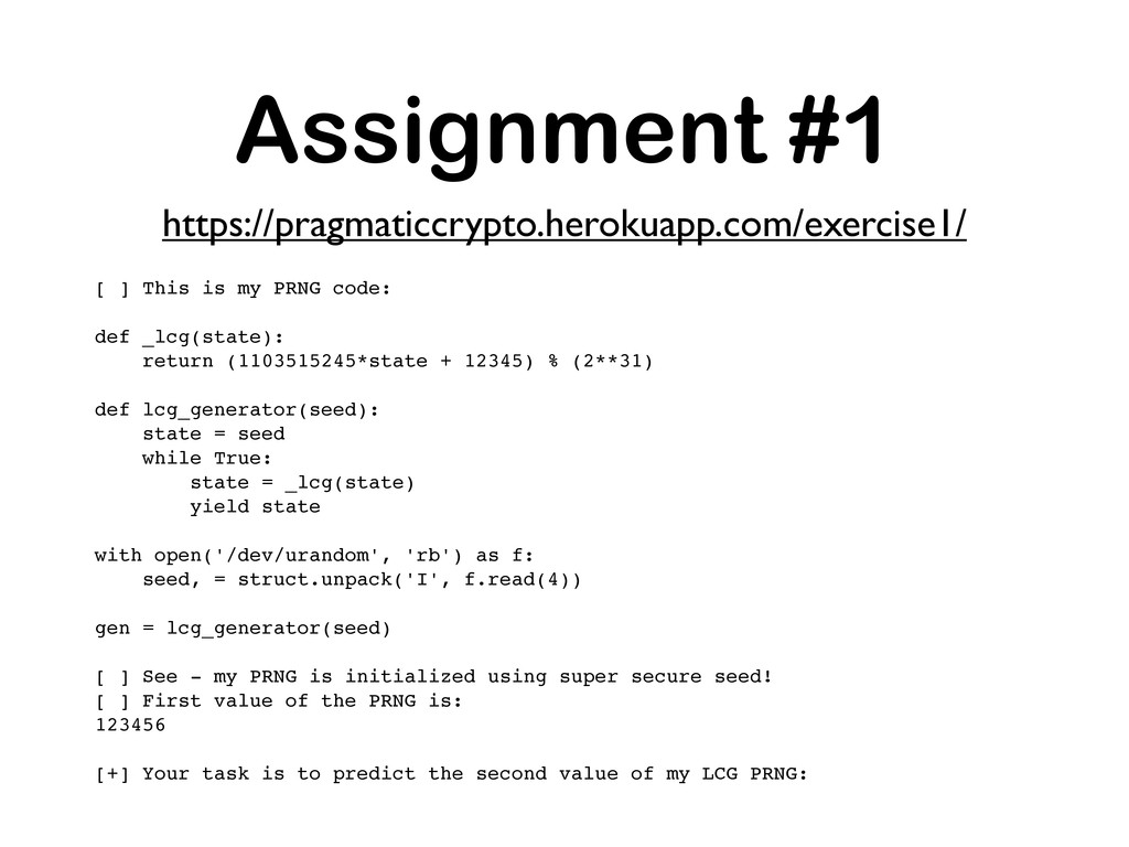 Assignment #1 [ ] This is my PRNG code: def _lc...