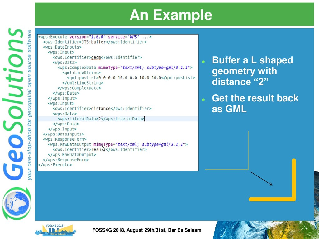 An Example ⚫ Buffer a L shaped geometry with di...