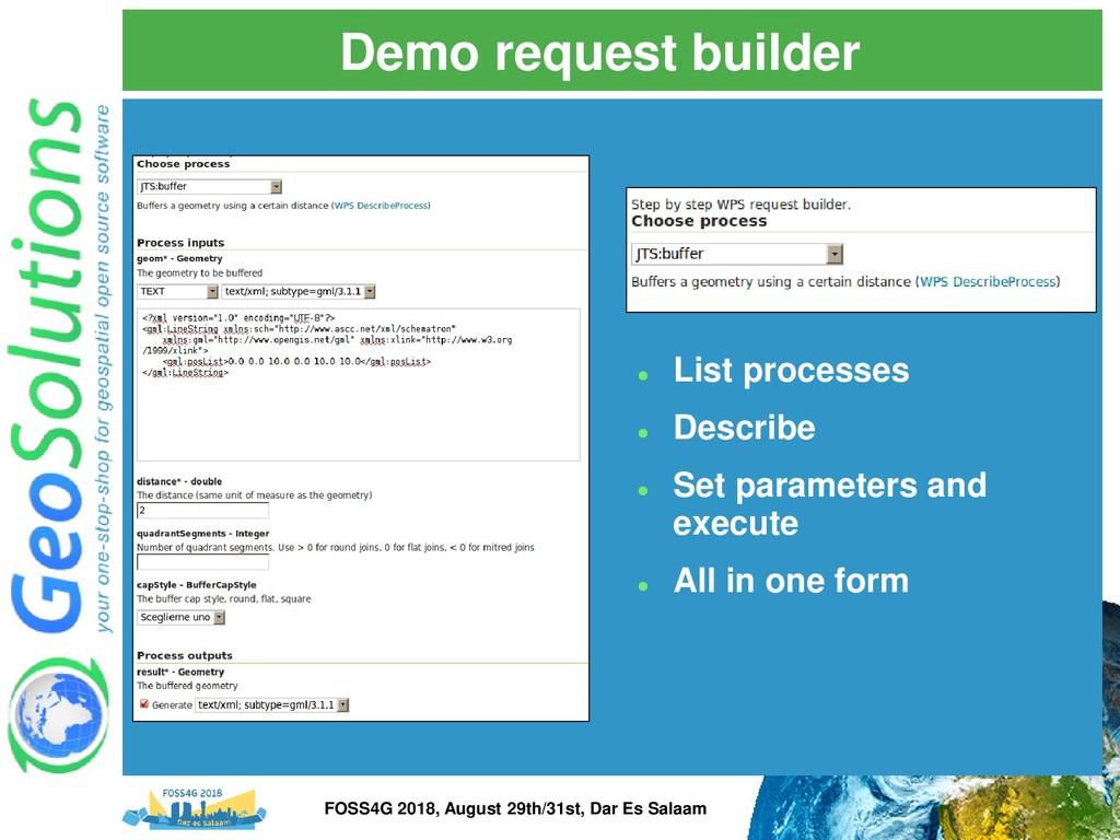 Demo request builder ⚫ List processes ⚫ Describ...