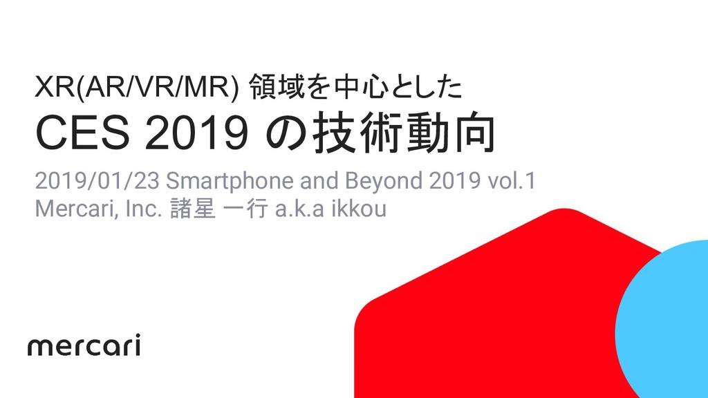 XR(AR/VR/MR) 領域を中心とした CES 2019 の技術動向 2019/01/23...