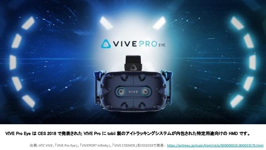 VIVE Pro Eye は CES 2018 で発表された VIVE Pro に tobii...