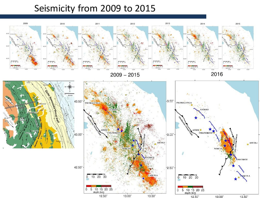 Seismicity from 2009 to 2015