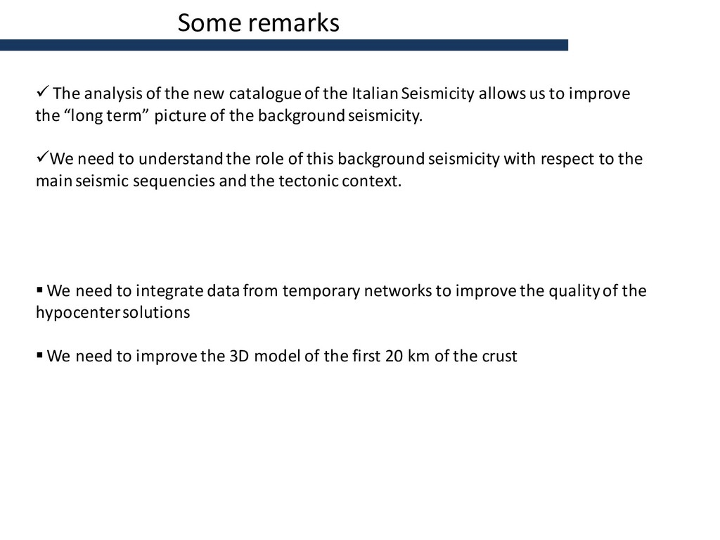 Some remarks  The analysis of the new catalogu...