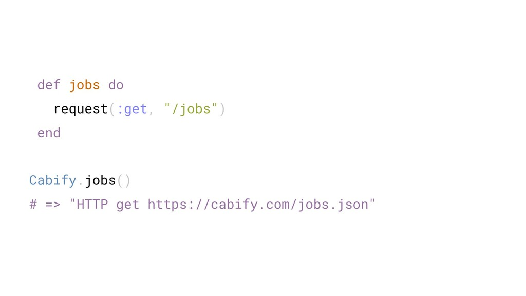 "def jobs do request(:get, ""/jobs"") end Cabify.j..."