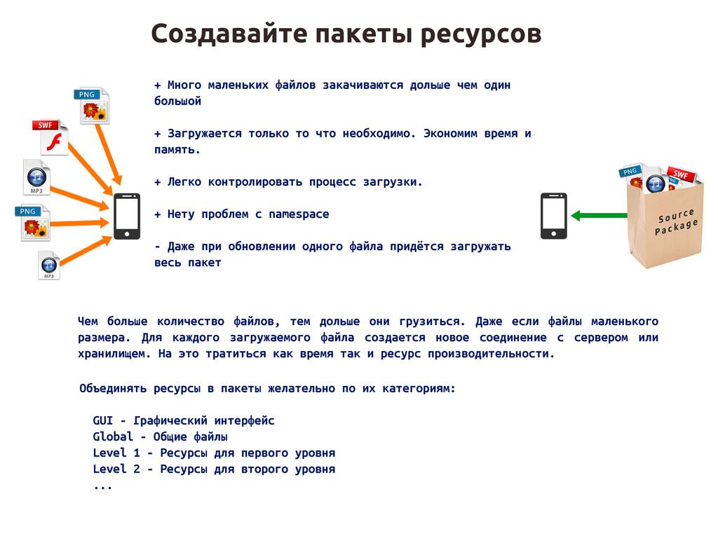 Создавайте пакеты ресурсов + Много маленьких фа...