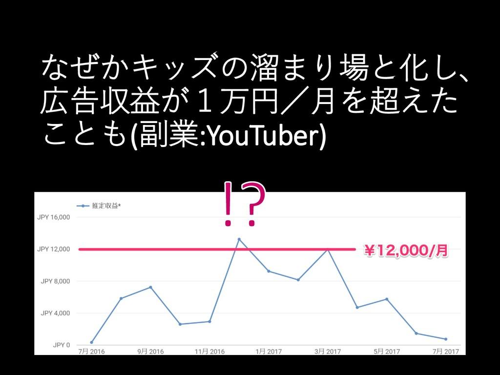なぜかキッズの溜まり場と化し、 広告収益が1万円/月を超えた ことも(副業:YouTuber)
