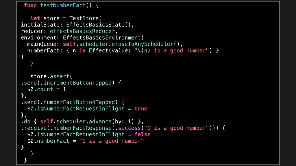 func testNumberFact() { let store = TestStore( ...