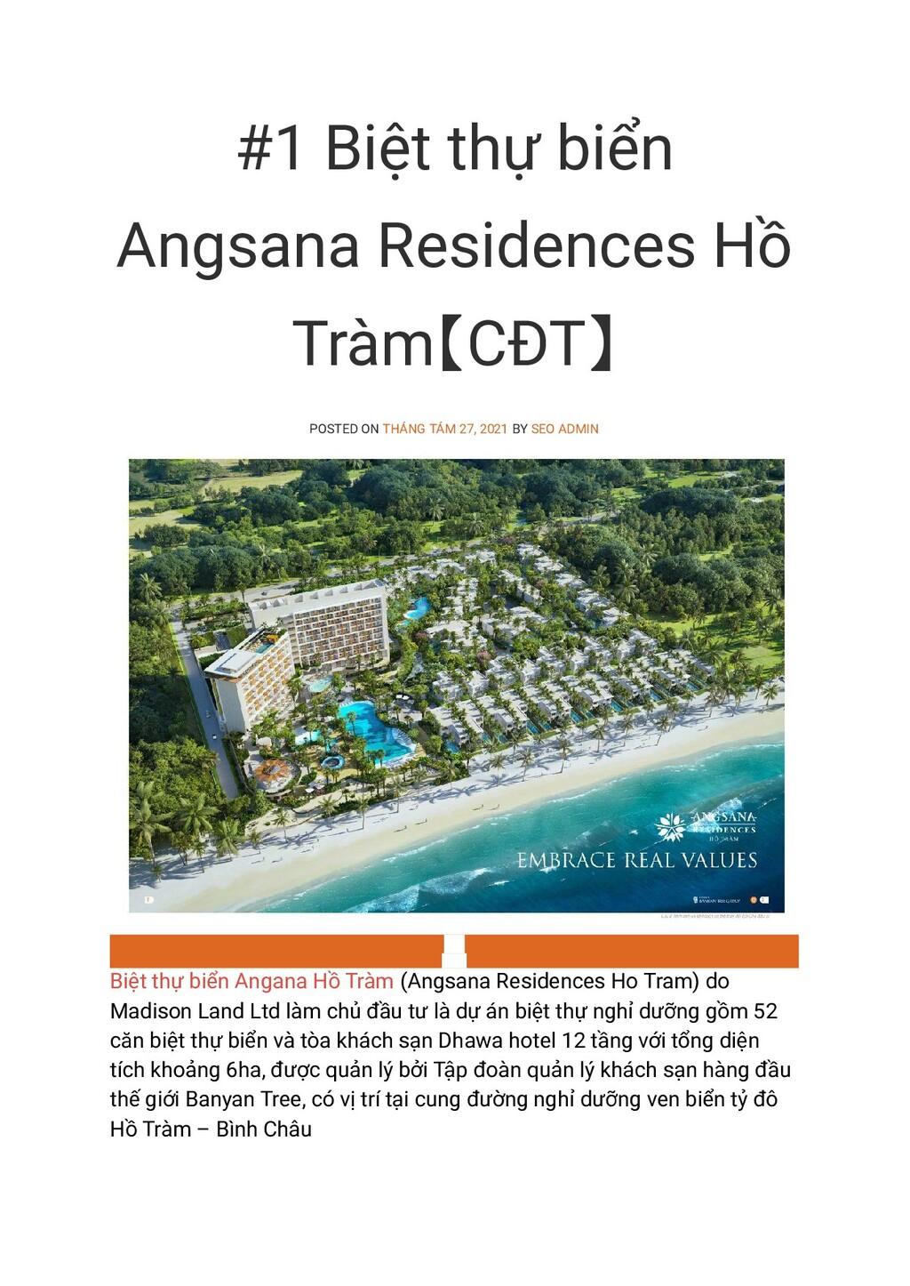 #1 Biệt thự biển Angsana Residences Hồ Tràm【CĐT...